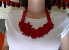 Chunky red bib style necklace with flowers by MarmaladePark