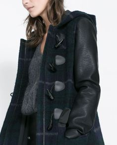 CHECKED DUFFLE COAT WITH FAUX LEATHER SLEEVES from Zara
