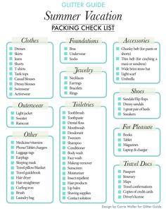 Summer Vacation Packing Checklist | Glitter Guide & Dream Green DIY