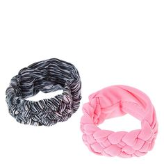 <P>Stay active and look fashionably fit with this pair of hair ties that double as wrist bands. The wide elastic have a braided detail plus a hidden pocket to store a fitness tracker or other small essentials. Includes one pink and one black & gray.</P><UL><LI>Set of 2</LI><LI>Hidden pocket</LI><LI>Fits your money, keys, lip gloss, & more<&...