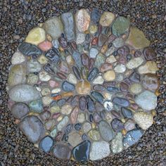 Pebble Mosaic Stepping Stone • Gardens by Jeffrey Bale