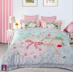 Princesa-de-cama-de-color-rosa-niñas-juego-de-edredón-sábanas-sábana-funda-nórdica-almohada-line.jpg (501×498)