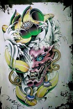 Dibujos Tattoo, Desenho Tattoo, Body Art Tattoos, Tattoo Drawings, Sleeve Tattoos, Hannya Maske, Japanese Demon Tattoo, Tattoo Oriental, Hanya Tattoo