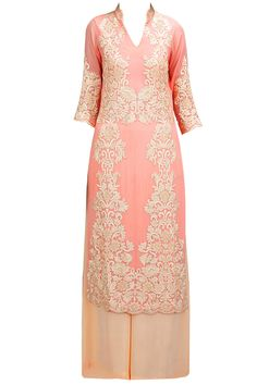 Light pink embroidered straight kurta set available only at Pernia's Pop-Up Shop.