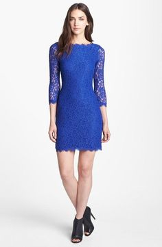 Beautiful! Diane von Furstenberg Royal Blue Lace Sheath Dress