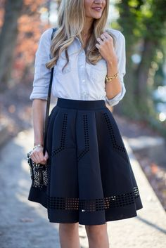 pale jean button down, black a-line skirt