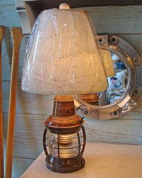 Nautical Brass Table Lamp with Navigational Chart Lampshade