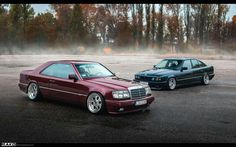 Mercedes-Benz W124 Coupe and BMW E34 chillin
