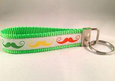 Green/Orange/Yellow Mustache Wristlet Keychain by HomeSweetLife on Etsy