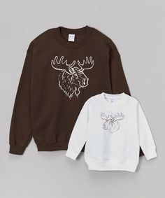 This Brown & White Moose Sweatshirt Set - Men's Regular, Toddler & Kids is perfect! #zulilyfinds