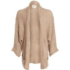 Beige Slouchy Open Front Knitted Cardigan ($40) ❤ liked on Polyvore