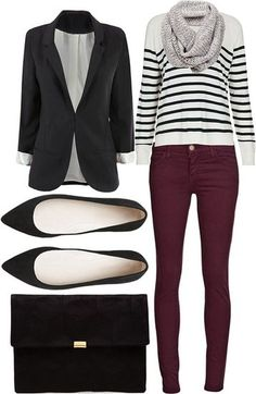 Purple or burgundy jeans, black and white striped shirt, black blazer and pointy-toe flats, grey knit scarf