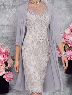 Two Piece Sheath / Column Mother of the Bride Dress Elegant Illusion Neck Knee Length Lace 3/4 Length Sleeve with Embroidery 2020 2020 - US $195.99 Mother Of The Bride Dresses Vintage, Mother Of The Bride Suits, Mother Of Bride Outfits, Mother Of Groom Dresses, Mothers Dresses, Dresses Kids Girl, Fabulous Dresses, Elegant Dresses, Beautiful Dresses
