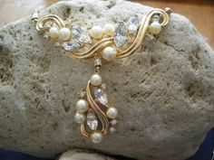 Trifari Rhinestones and Faux Pearl Necklace by GotMilkGlassAndMore, $44.88