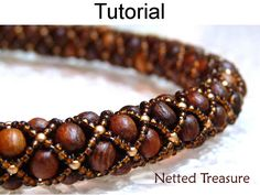 Beading Pattern Tutorial Necklace Bracelet - Tubular Netted Stitch - Simple Bead Patterns - Netted Treasure #459