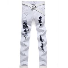 >> Click to Buy << Big Size White Printed Men Jeans 2017 New Fashion Male Unique Cotton Stretch Jeans Mens Casual Personality Pattern Biker Jeans #Affiliate