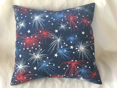 "4th of July Throw Pillow Cover - Fireworks - Our Patriotic Red, White & Blue - Interchangeable (16"" Pillow Form Optional) by SewWhatAndMoreCrafts on Etsy"