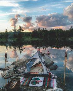 Lakeside camping Would love this setup! @emandelorganics