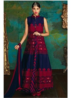 Shop online blue raw silk designer floor length suit online, this designer floor length suit is perfect for any occasion, this designer floor length suit is prettified with embroidered and lace which gives trendy look. Designer Salwar Suits, Designer Anarkali, Designer Dresses, Designer Kurtis, Trendy Collection, Dress Collection, Buy Suits Online, Anarkali Suits Online Shopping, Ethnic Wear Designer