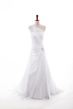 Fashionable One Shoulder Dropped waist Chiffon wedding dress