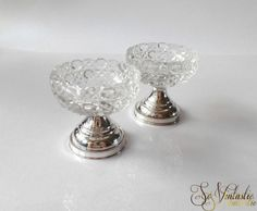 A set of 2 antique cut crystal salt cellars, Silver footed salt condiments, salt dish and pepper dish. It is a very exclusive and stunning set! by SoVintastic, €45.00