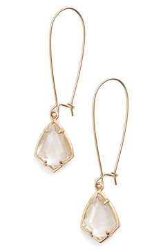 Luminous semiprecious stones lend elegant shine to any look as they anchor delicate drop earrings that are light enough for daily wear.