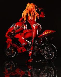 Asuka Langley Soryu from Neon Genesis Evangelion (Motorcycle Version - Tentacle Armada Lady Biker, Biker Girl, Anime Motorcycle, Motorcycle Leather, Motorcycle Racers, Motard Sexy, Bakugou And Uraraka, 3d Art, Motorbike Girl