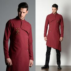 Plum #color #handloom_cotton #assymetrical #kurta #chinos #chic #trendy #instyle #hot_seller #menwear #bucram_puneetandnidhi #noida