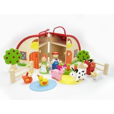NEW Children s Kaper Kidz Wooden Farm Carry Play Set with Barn and Animals