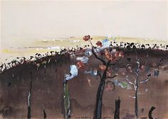 """ Fred Williams (Australian, Burning Tree, Upwey, Gouache on paper on board, 54 x 76 cm. Fred Williams, Gouache, Auction, Artist, Artwork, Painting, Paper, Board, Landscapes"