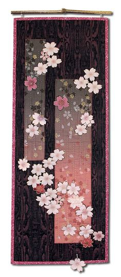 'Evening Showers' - Broderie Perse from a commercial fabric, hand stitching, beads and blossoms. Japanese Quilt Patterns, Japanese Fabric, Quilt Block Patterns, Japanese Art, Japanese Patchwork, Crazy Quilting, Graphic 45, Quilting Projects, Quilting Designs