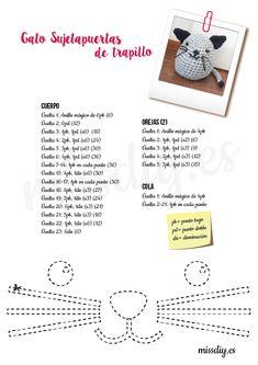 Gato sujetapuertas de trapillo - MissDIY Crochet Amigurumi Free Patterns, Crochet Doll Pattern, Crochet Toys, Crochet Kitchen, T Shirt Yarn, Love Crochet, Amigurumi Doll, Diy And Crafts, Projects