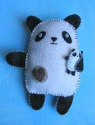 cute felt panda with baby