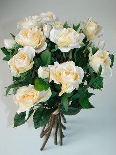 Rosenstrauß GREEN HOUSE 35cm Kunstblumen Rose weiß-gelb Blumenstrauß Rosen neu!