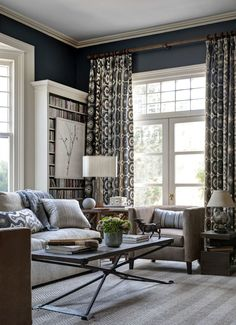 Living Room Drapes on Large French Doors Martyn Lawrence Bullard Darya Ikat (Honey Collins Interior Design) Living Room Designs, Living Spaces, Living Rooms, Kitchen Living, Living Area, Living Room Drapes, New England Homes, House And Home Magazine, Classic House