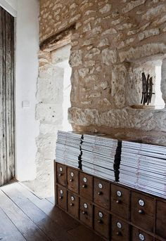 Lusting after the stone walls and wide plank floors...they just don't make 'em like they used to.
