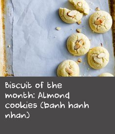 Biscuit of the month: Almond cookies (banh hanh nhan) Butter Biscuits Recipe, Butter Cookies Recipe, Almond Cookies, Biscuit Recipe, Yummy Cookies, Delicious Cookie Recipes, Easy Cookie Recipes, Cake Recipes, Yummy Food