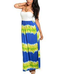 Look what I found on #zulily! Royal Blue & Green Tie-Dye Stripe Sleeveless Maxi Dress #zulilyfinds