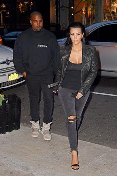 Kim Kardashian e Kanye West look casal