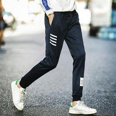 Men Joggers Hip Hop Pencil Feet Pants Elastic Waist Men Skinnly  Pencileosewe. Trousers MensHarem Pants MenJogger SweatpantsCasual ... d498d68dc