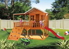 Blue Cockatoo ~  Kids will love the elevated Blue Cockatoo cubby house with its slide, large climbing wall, covered porch, and enclosed play house. This will entertain children outdoors for hours.