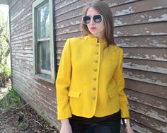 Vintage Sunny Yellow Jacket 70s Mod Mandarin NEHRU COLLAR Woman's Sport Coat weaved wool Box BLAZER Jeweled silver toned Buttons Up topper M by HarlowGirls on Etsy