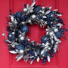 Blue Christmas Tree Decorations, Christmas Wreaths For Front Door, Silver Christmas Tree, Xmas Wreaths, Christmas Diy, Merry Christmas, Blue And Silver, Midnight Blue, Happy Holidays