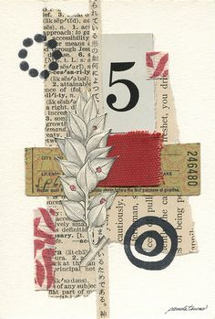"""""""Take 5″ Mixed-media collage on artboard with vintage papers, book skins, handmade paper and book pages. 3.75″ x 5.5"""" Save"""