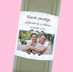 Étiquette de bouteille mariage baroque et élégante pour votre repas de noce, réf.N300551