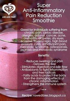 Super Anti-Inflammatory Pain Reduction Smoothie Ingredients: - 1 cup organic cherries (anthocyanins in cherries help relieve pain more effectively than aspirin) - 2 ripe bananas (energy and help digestion) - 1 cup greens of your choice (very alkaline)