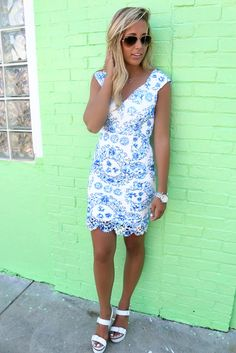 Beaufort Blue Floral Print Lace Cap Sleeve Bodycon Dress