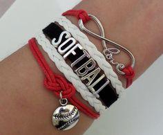 Softball bracelet Baseball bracelet Infinity love by SummerWishes