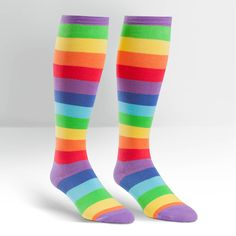 Rainbow Toe Socks: Bring back groovy memories with today's funky look! Bold rainbow toe socks are acrylic/spandex blend;