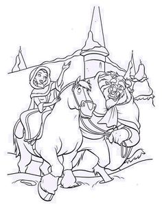 Beauty and the Beast, : Belle Riding the Horse with the Beast on Her Side Coloring Page